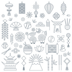 Chinese New Year thin line set with pig zodiac 2019 symbol, asian lanterns, coins, fireworks, yin yang, flowers and traditional ornaments. Collection of outline elements for China Spring Festival.