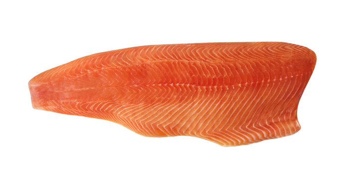 Big Raw Natural Atlantic Salmon Fillet Isolated on White