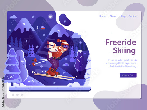 Ski Resort Landing Page Template With Freeride Skiing Man On Skis In Motion Winter Holidays Mountains Web Banner Downhill Skier Riding Snowy
