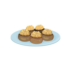 Stuffed mushrooms on blue plate. Tasty snacks. Appetizing food for festive banquet. Flat vector design