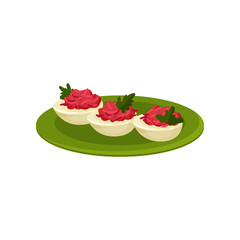 Boiled eggs stuffed with beetroot. Tasty snacks. Appetizing food. Culinary theme. Flat vector icon