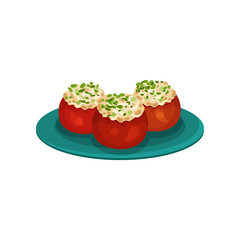 Baked tomatoes stuffed with rice. Appetizing snacks. Food for holiday dinner. Culinary theme. Flat vector icon