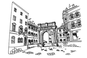 Fotomurales - vector sketch of Arch of the Sergii (Golden gate) in Pula. Croatia