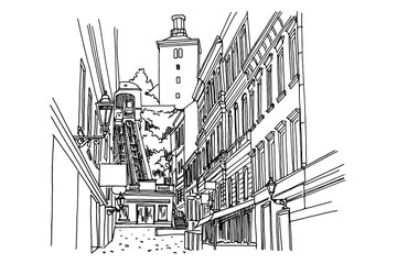 Wall Mural - vector sketch of funicular and Lotrscak tower in Zagreb. Croatia.