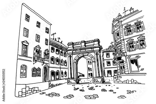 Wall mural vector sketch of Arch of the Sergii (Golden gate) in Pula. Croatia