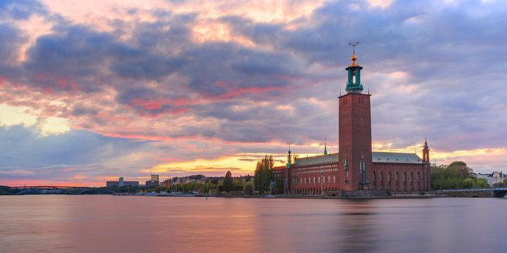 City Hall at sunset, Stockholm, Sweden