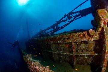 Acrylic Prints Shipwreck scuba diver diving Ship Wreck in maldives indian ocean