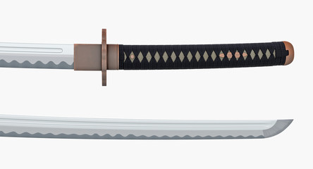 Japanese sword Katana - open sheath isolated on white background 3d illustration