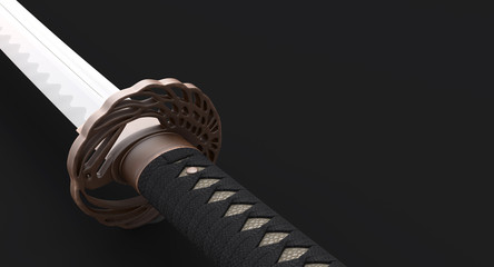 Japanese sword Katana  closeup handle and tsuba -isolated on black background 3d illustration