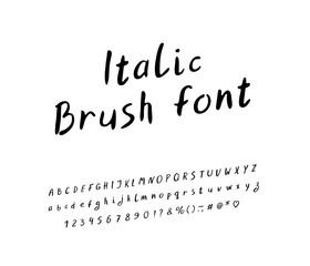 Alphabet handwritten italic design. Letters, numbers and punctuation marks