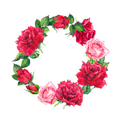 Red and pink rose flowers wreath. Floral round border. Watercolor for Valentine day, wedding, save date card