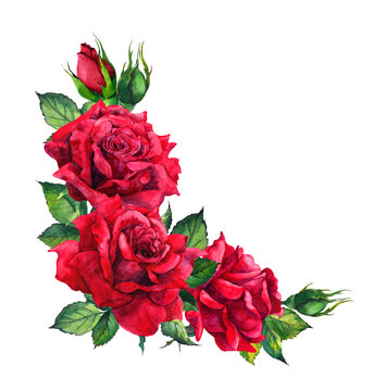 Red roses - corner floral composition. Watercolor for wedding card