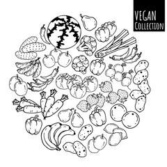 Group of vector illustrations on the vegetarianism theme: various types of fresh vegetables and fruits. Zero waste. Eco lifestyle. Isolated objects for your design.