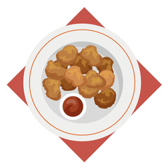 Chicken nuggets meal. Crispy snack with sauce