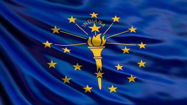 Indiana state flag. 3d illustration
