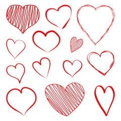 Set of red hearts hand drawn. Vector illustration