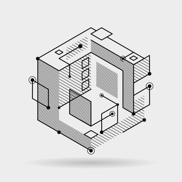 Abstract cubic lines elements technical 3D isometric background design vector illustration