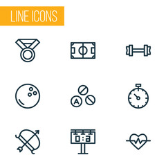 Activity icons line style set with score display, fitness, football field and other kegling