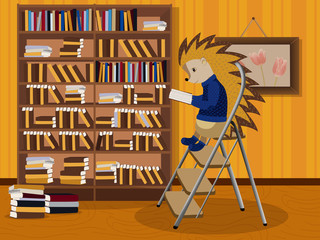 Hedgehog reading a book. Vector illustration. Isolated on a white background.