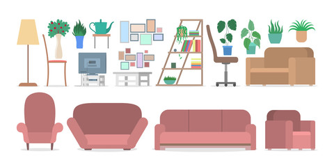 Furniture for interior in the apartment set