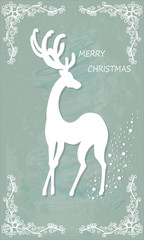 Beautiful Christmas card with reindeer . Vector, EPS10.