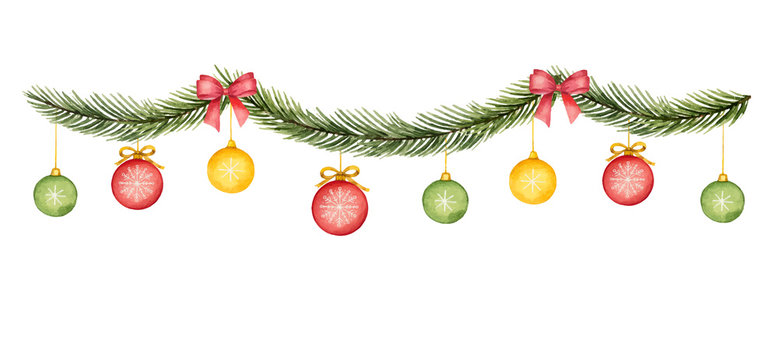 Watercolor vector Christmas garland with balls, red bow and fir branches.