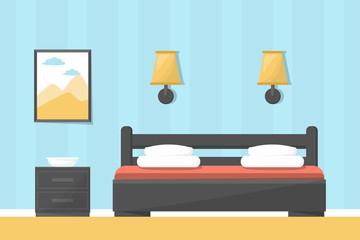 Hotel room or bedroom interior. Big bed