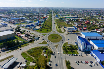 Poster Motorise City road intersection from the air. Tyumen