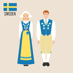Sweden woman and man in traditional costume