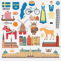 Set with design elements of symbols of Sweden