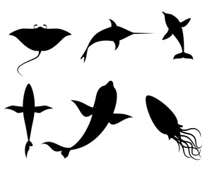 Silhouettes of sea creatures