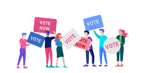 Voting and Election concept. Pre-election campaign. Promotion and advertising of candidate. Citizens debating candidate. Online voting and election concept with people.