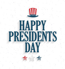 Presidents Day poster with hat and stars on white background. Vector illustration.