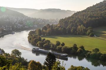 sunrise over the river Neckar and Neckarsteinach with the 4 castles near Heidelberg Germany