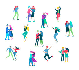Collection of pairs of dancers. Men and women performing dance at school, studio. Male and female characters. Group of young happy dancing people. Smiling young men and women enjoying dance party