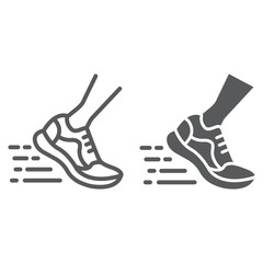 Running fast line and glyph icon, footwear and sport, sport shoes sign, vector graphics, a linear pattern on a white background,