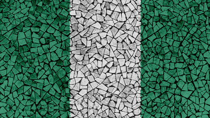 Mosaic Tiles Painting of Nigeria Flag, Background Texture