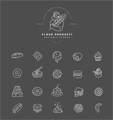 Vector icon and logo for natural flour product and bacery. Editable outline stroke size. Line flat contour, thin and linear design. Simple icons. Concept illustration. Sign, symbol, element.