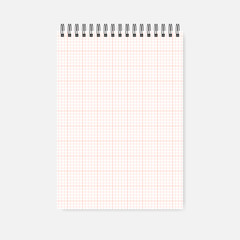 Top spiral A4 notepad - cross section squared paper page, template