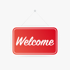 Welcome hanging sign on white background. Sign for door. Vector illustration.