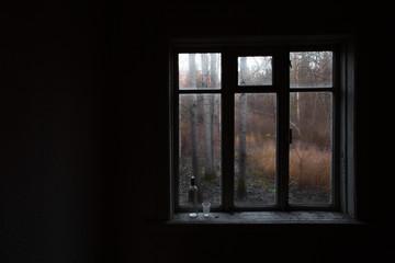 autumn depression..Empty vodka bottle and glass.