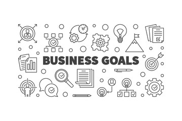 Business Goals vector concept horizontal illustration or banner in thin line style