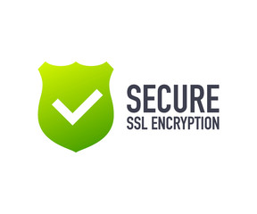 Secure connection icon vector illustration isolated on white background, flat style secured ssl shield symbols.
