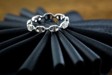 Engagement ring on the black