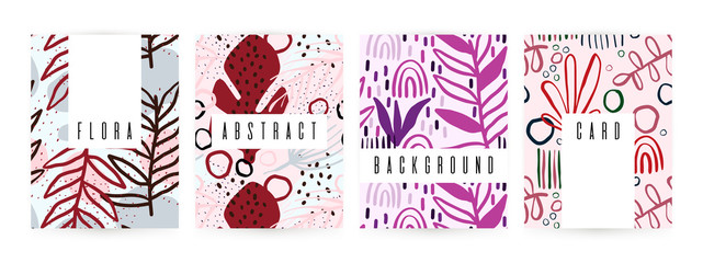 Creative background with floral elements and different textures. Collage. Design for poster, card, invitation, placard, brochure, flyer.