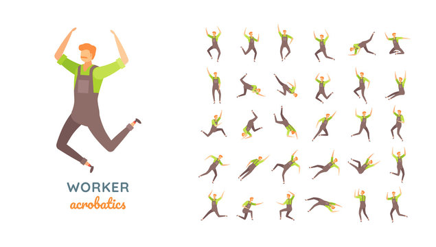 Vector young adult man in worker overalls ready-to-use character casual poses set in flat style.