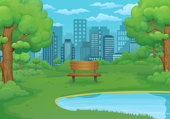 Summer, spring day illustration. Wooden bench by the lake with lush green bushes and trees. Cityscape in the background.