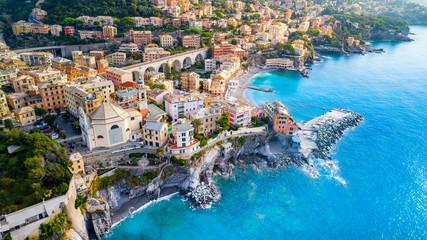 View of Bogliasco. Bogliasco is a ancient fishing village in Italy, Genoa, Liguria. Mediterranean Sea, sandy beach and architecture of Bogliasco town.