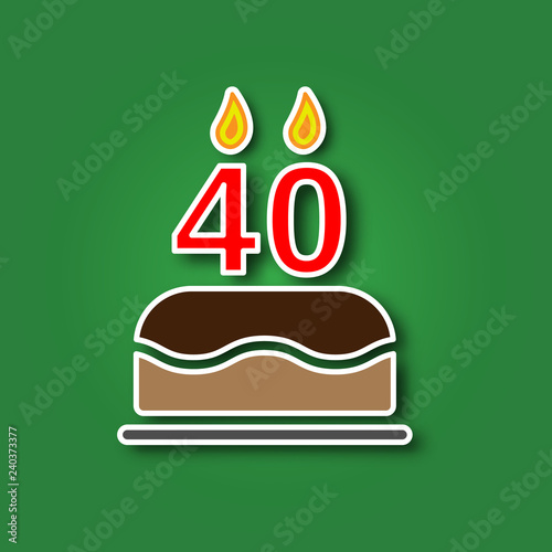 Birthday Cake With A Candle In The Form Of Number 40 Sticker Shadow Icon Happy Concept Symbol Design