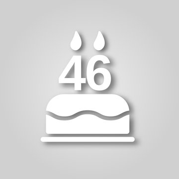 Birthday cake with candles in the form of the number 46 figure cut out of paper icon. Happy Birthday concept symbol design. Stock - Vector illustration can be used for web.